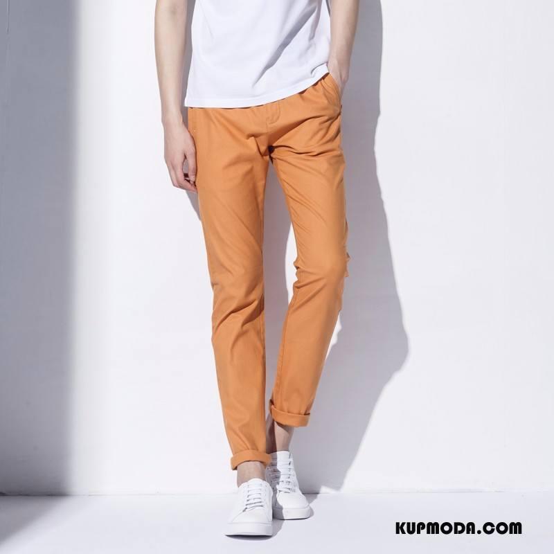 Casualowe Spodnie Męskie Moda Slim Fit Wysoki Koniec Czysta Oranż Czerwony