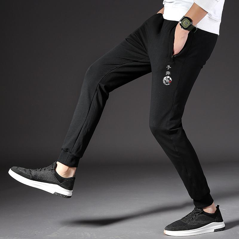 Casualowe Spodnie Męskie Moda Spodnie Dresowe Męska Tendencja Nowy Czarny