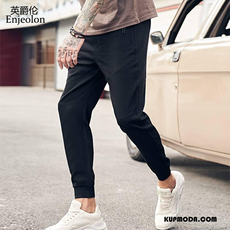Casualowe Spodnie Męskie Modna Marka Spodnie Dresowe Męska Cienkie Tendencja Lato Czarny