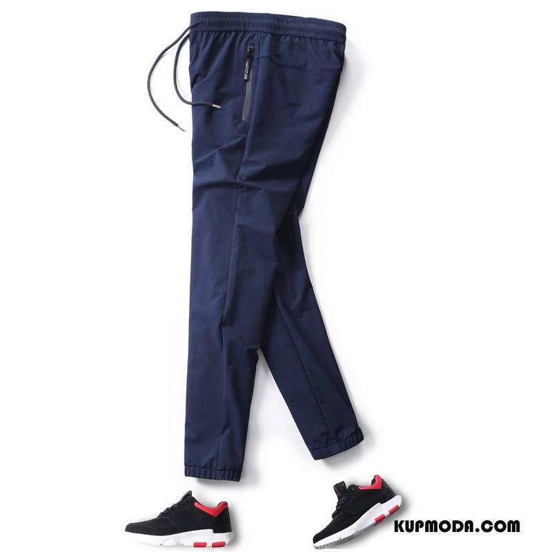 Casualowe Spodnie Męskie Ołówkowe Spodnie Spodnie Dresowe Męska Lato Cienkie Spodnie Elastyczne Ciemno Niebieski Czysta