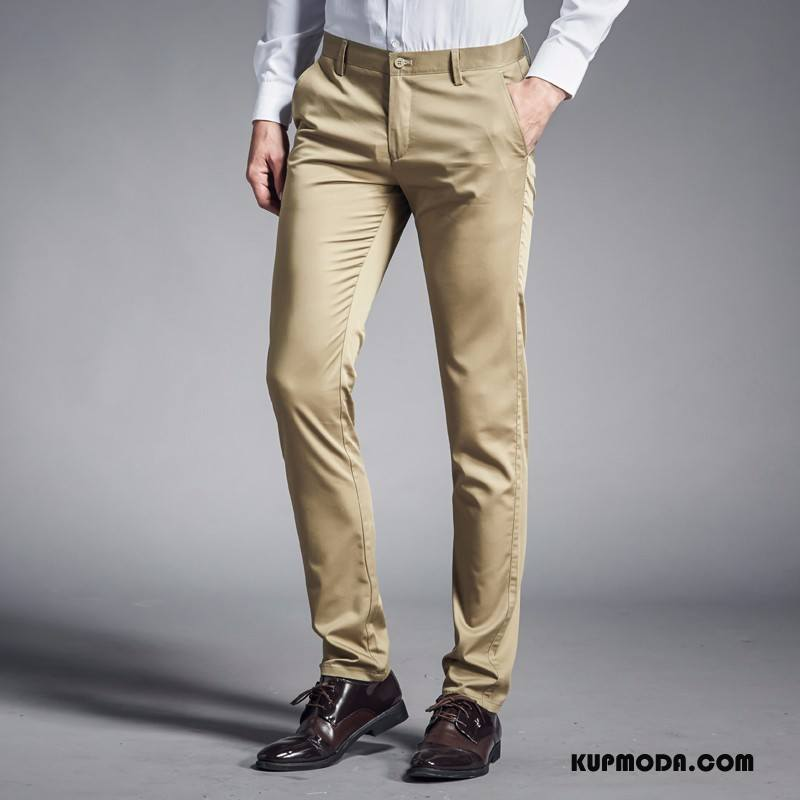 Casualowe Spodnie Męskie Oddychające Elastyczne Nowy Wygodne Khaki