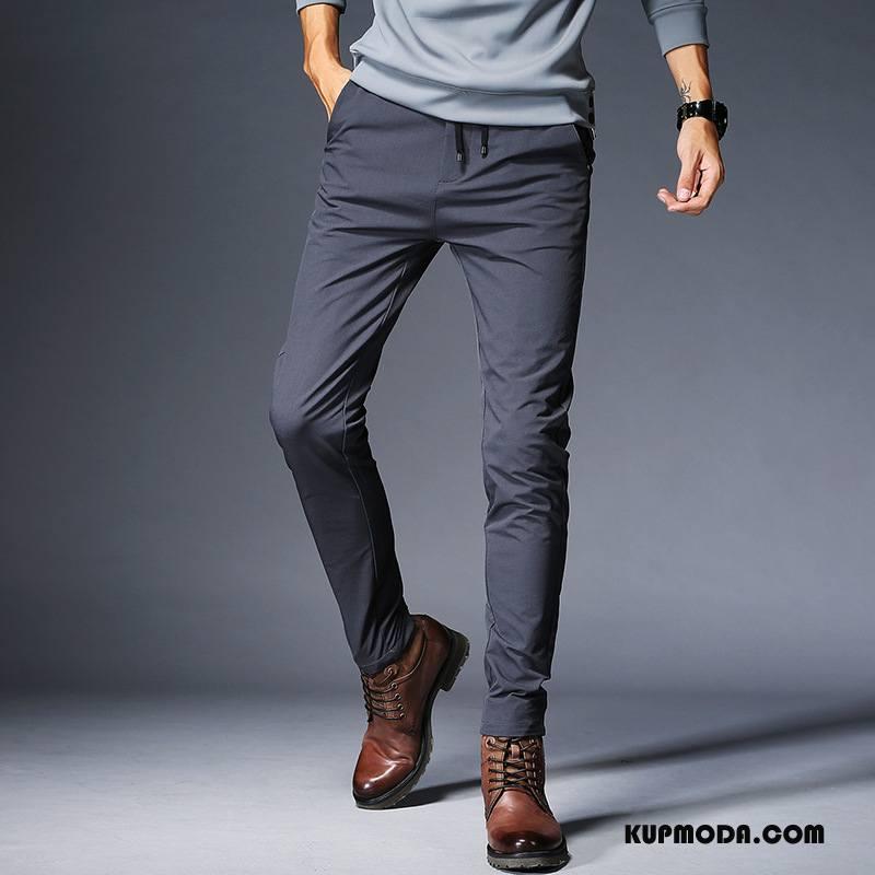 Casualowe Spodnie Męskie Slim Fit Jesień Ołówkowe Spodnie Spodnie Dresowe Sznurowane Męska Czysta Szary