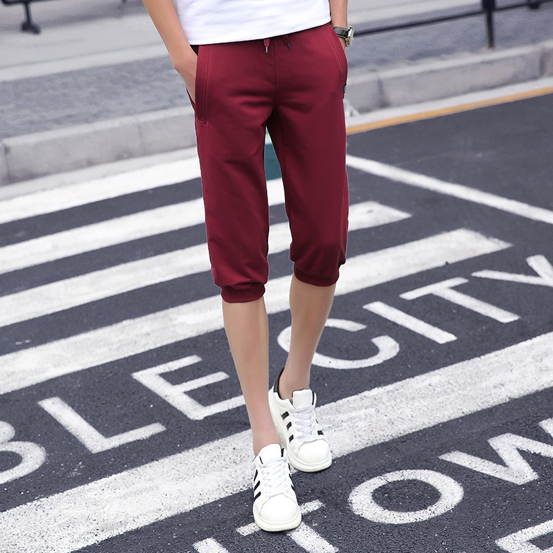 Casualowe Spodnie Męskie Slim Fit Spodnie Capri Męska Lato Szorty Tendencja Czerwony