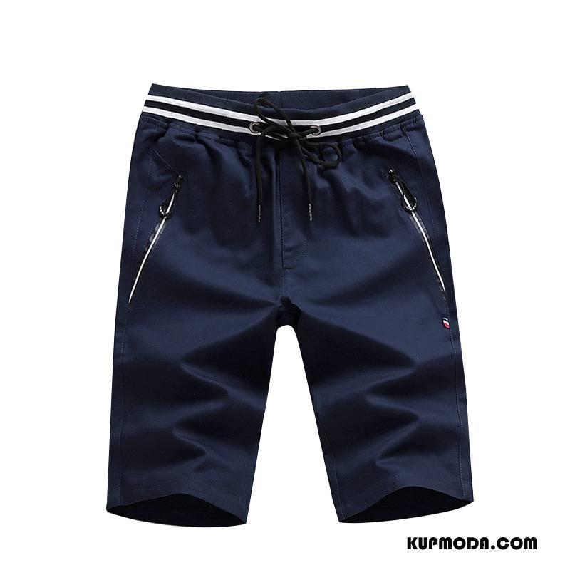 Casualowe Spodnie Męskie Slim Fit Tendencja Moda Lato Nowy Szorty Ciemno Niebieski