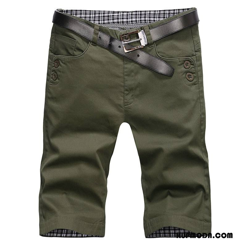 Casualowe Spodnie Męskie Spodnie Capri Lato Cienka Slim Fit Męska Tendencja Ciemnozielony