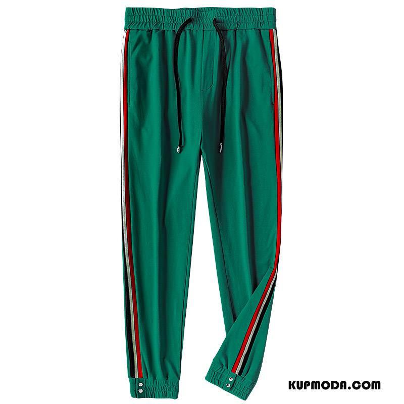 Casualowe Spodnie Męskie Spodnie Dresowe Modna Marka W Paski Jesień Męska Cienka Zielony