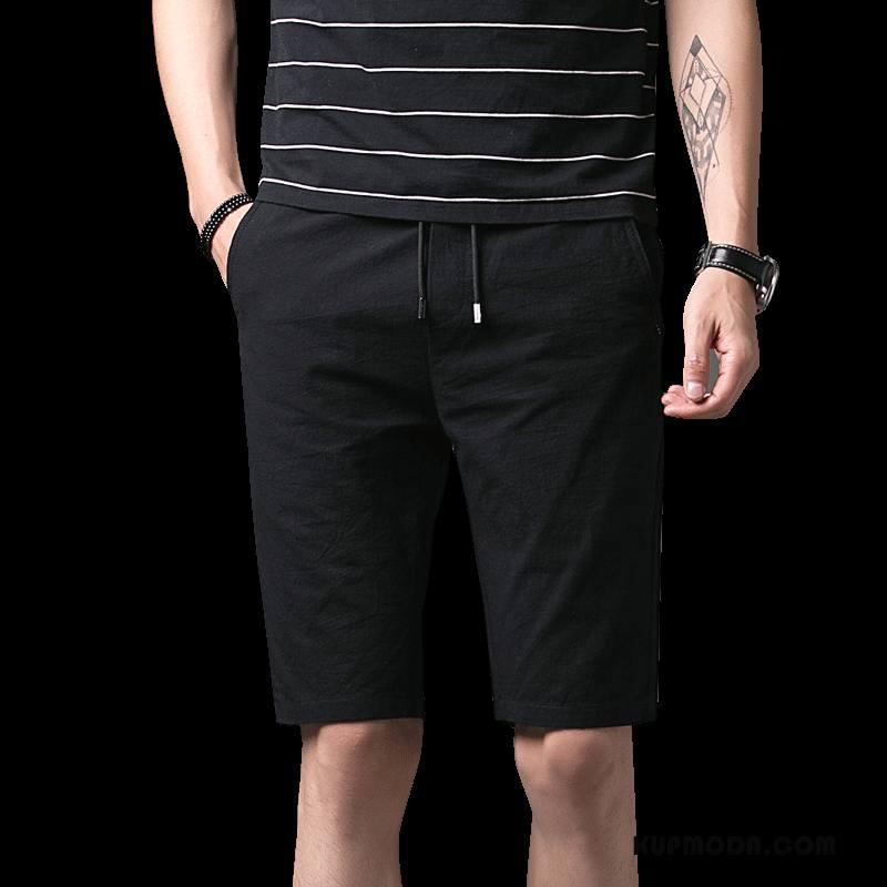 Casualowe Spodnie Męskie Spodnie Dresowe Szorty Lato Tendencja Męska Slim Fit Czarny
