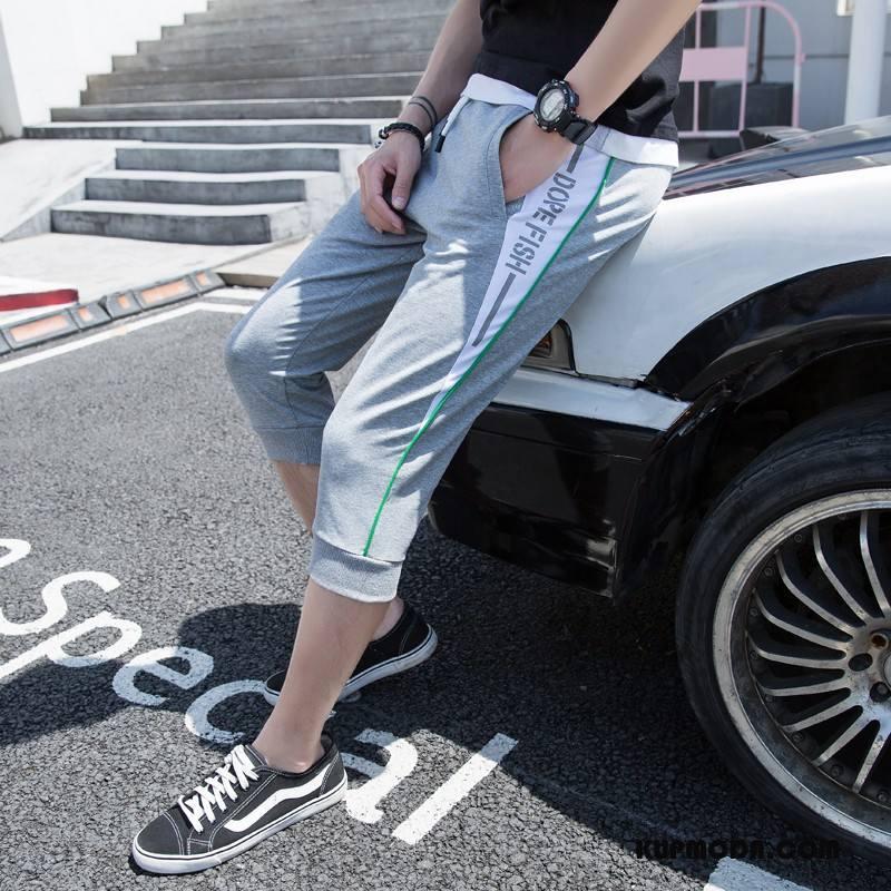 Casualowe Spodnie Męskie Szorty Sportowe Spodnie Capri Elastyczne Sznurowane Nastolatek Szary Jasny