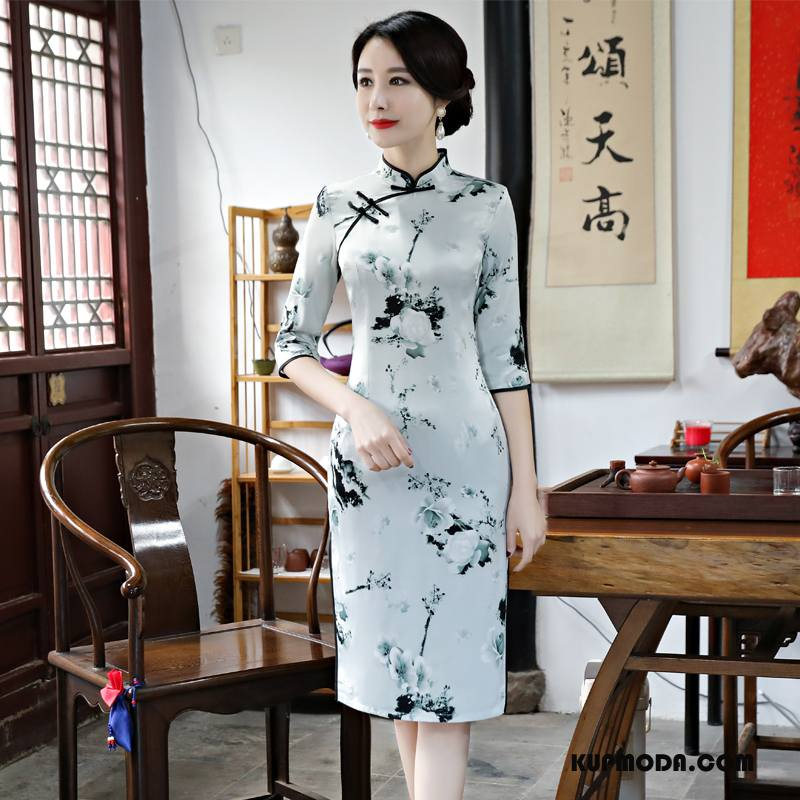 Cheongsam Damskie Świeży Cienkie Sukienka 2018 Wiosna Tendencja Biały