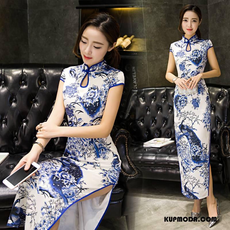 Cheongsam Damskie Długie Slim Fit Sukienka Gazy Krótki Rękaw Eleganckie Niebieski
