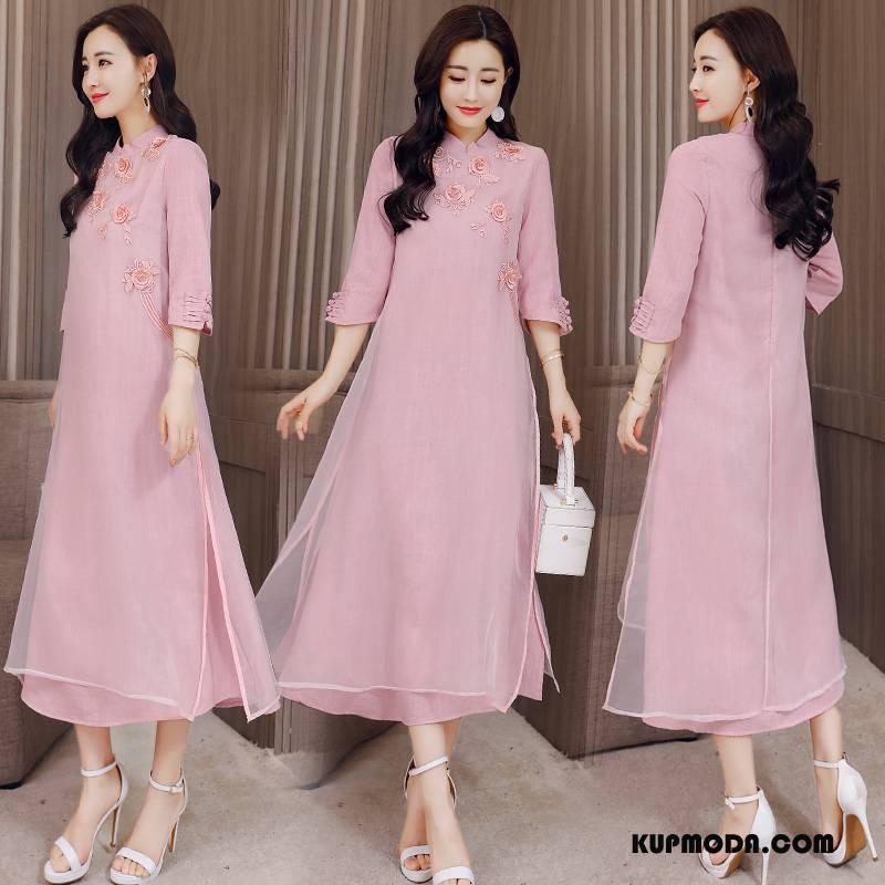 Cheongsam Damskie Eleganckie Slim Fit Długie Gazy Sukienka Lato Czysta Różowy