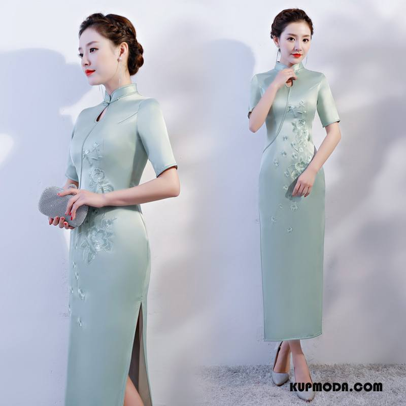 Cheongsam Damskie Eleganckie Sukienka Cienkie Casual Slim Fit Lato Czysta Zielony