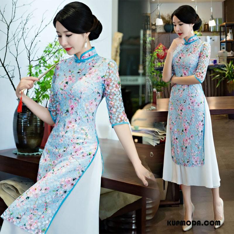Cheongsam Damskie Eleganckie Swag Kwiatowa Piękny Rękawy Sukienka Niebieski