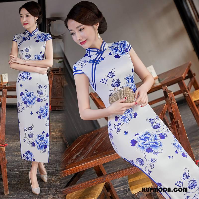 Cheongsam Damskie Gazy Sukienka Eleganckie Popularny Cienkie Wiosna Biały