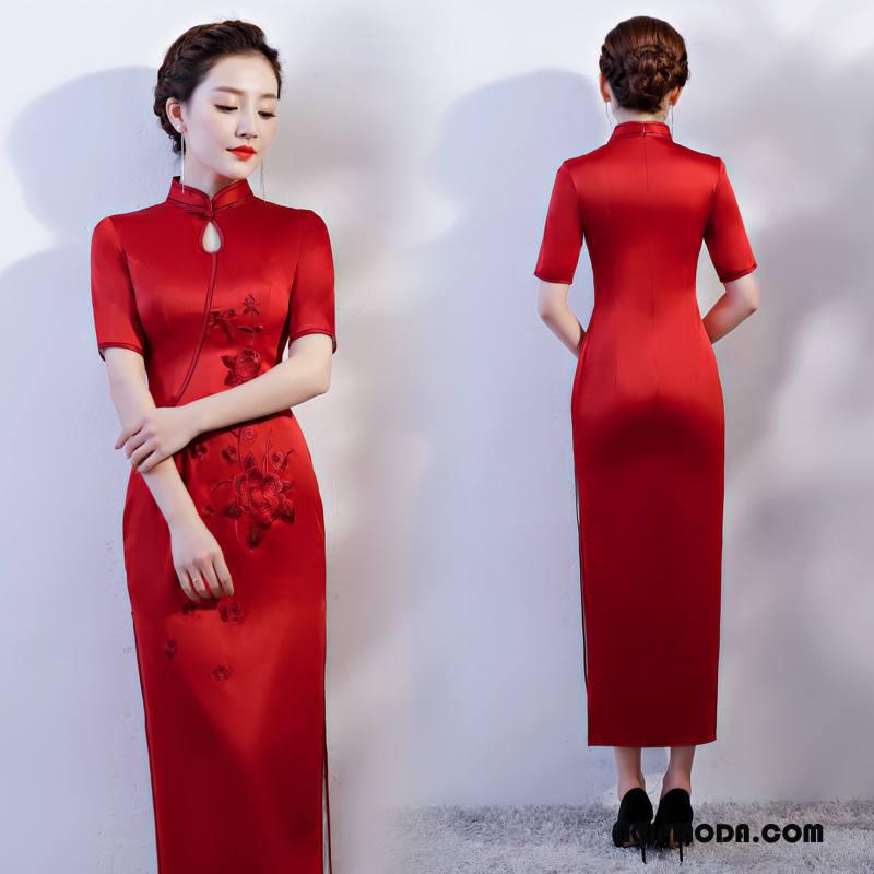 Cheongsam Damskie Gazy Sukienka Moda 2018 Casual Slim Fit Czysta Czerwony