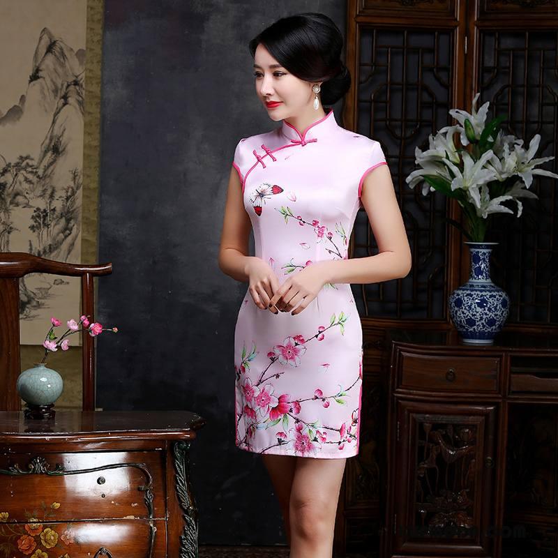 Cheongsam Damskie Lato 2018 Eleganckie Sukienka Gazy Moda Proszek