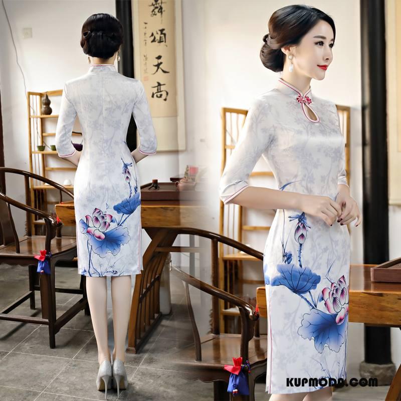 Cheongsam Damskie Sukienka Lady Rękawy Slim Fit Gazy Długie Biały