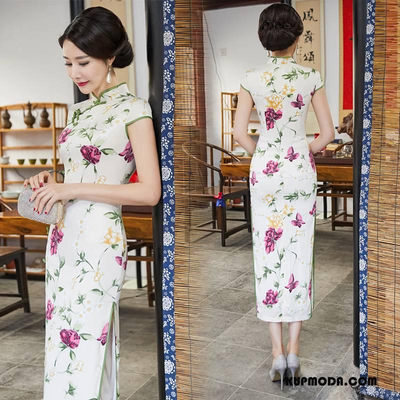Cheongsam Damskie Sukienka Tendencja Wygodne Slim Fit Szerokie Gazy Czysta Biały