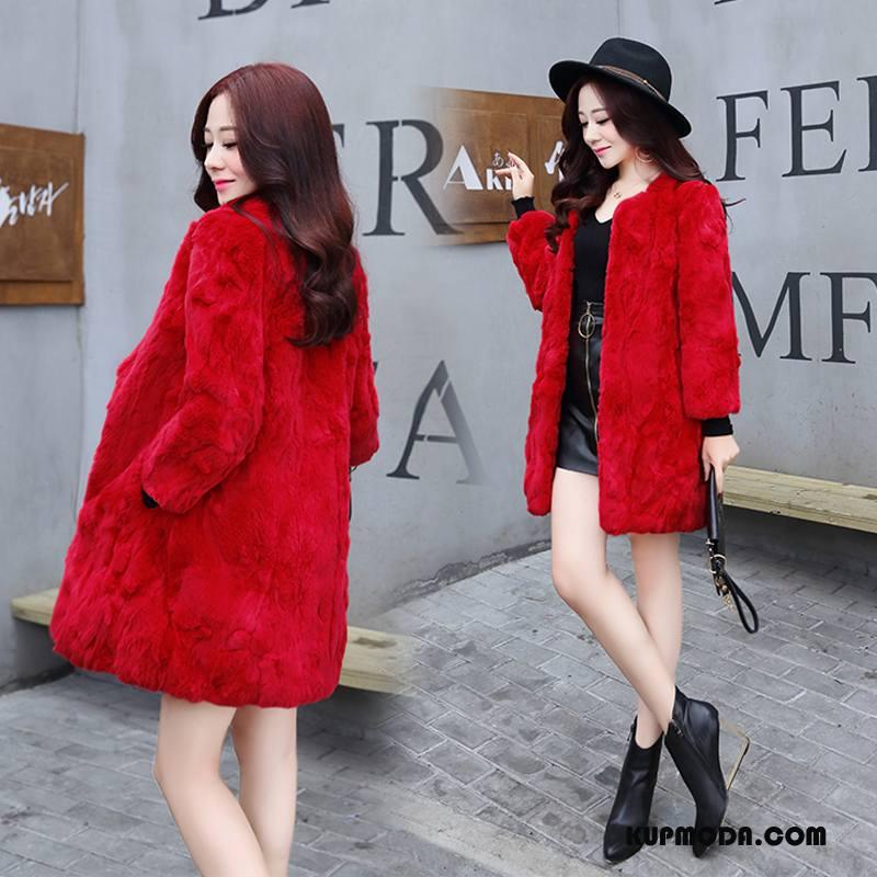 Futro Kurtka Damskie Proste Tendencja Długi Rękaw Eleganckie Moda Skóra Czerwony