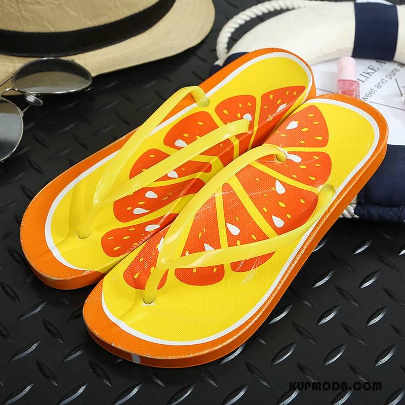 Japonki Damskie Buty Plażowe Antypoślizgowe Damska Płaskie Pomarańczowy