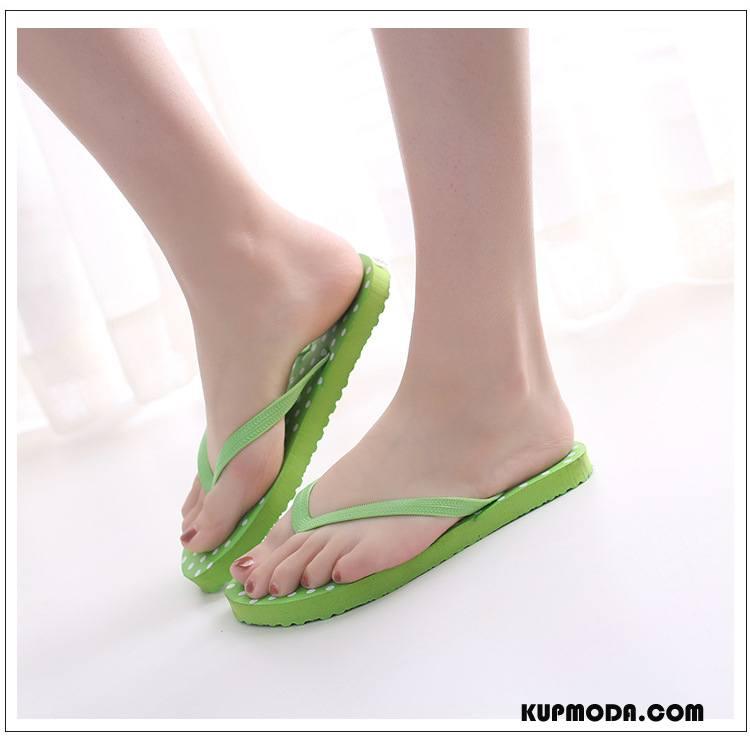 Japonki Damskie Płaskie Buty Moda Odzież Wierzchnia Proste Plażowe Zielony