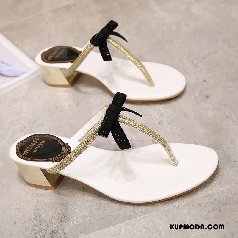 Japonki Damskie Sandały Antypoślizgowe Kapcie Gruba Podeszwa Moda Muszka Biały