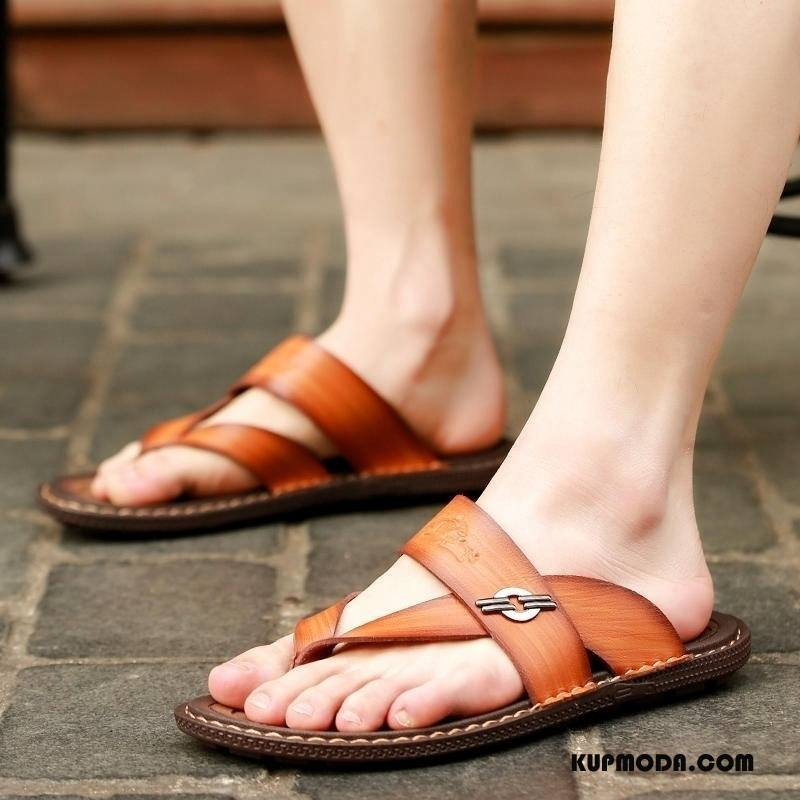 Japonki Męskie Antypoślizgowe Lato Buty Odzież Wierzchnia Męska Dla Kierowców Brązowy