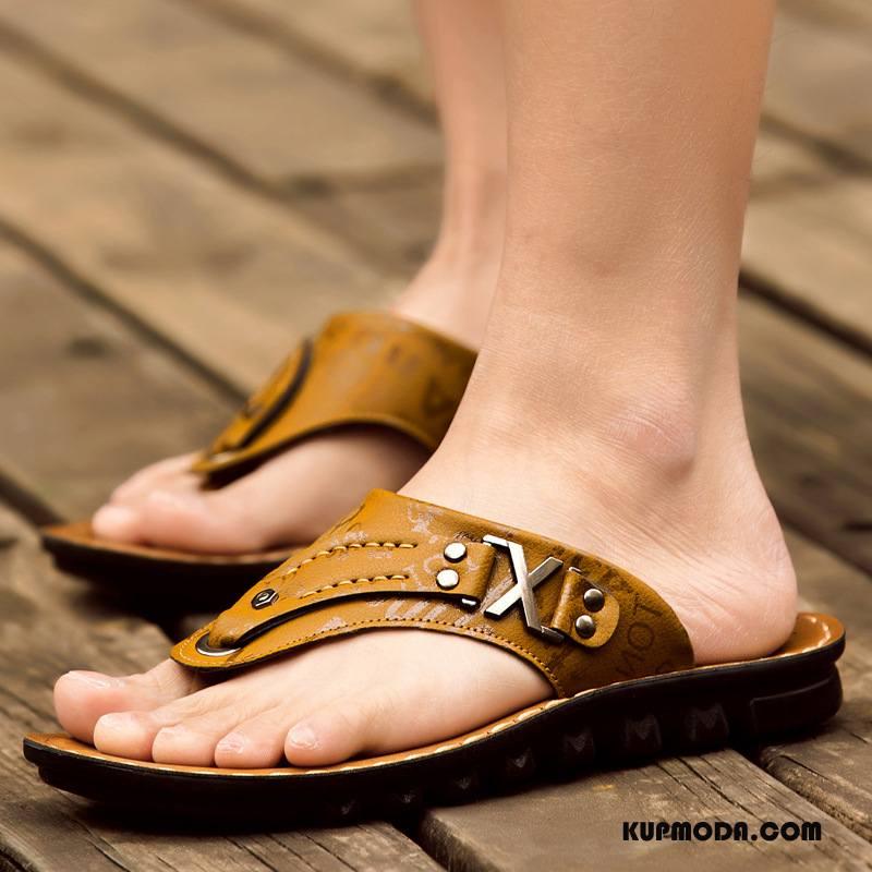Japonki Męskie Casual 2018 Buty Plażowe Sandały Męska Brązowy