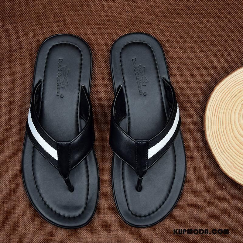 Japonki Męskie Męska Prawdziwa Skóra Lato Odporne Na Zużycie Outdoor Casual Czarny
