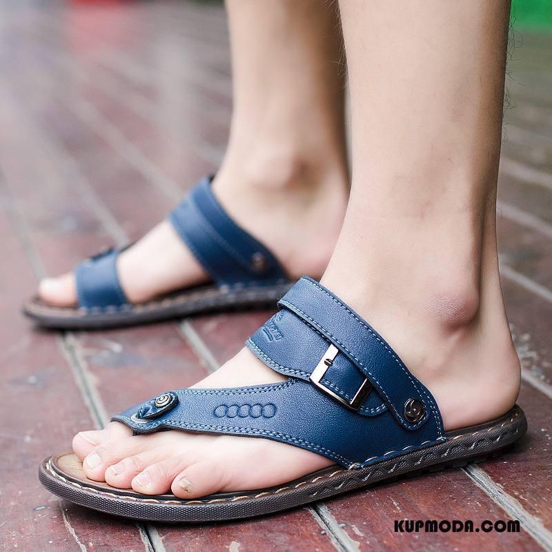 Japonki Męskie Męska Sandały Lato Plażowe Casual 2018 Ciemno Niebieski