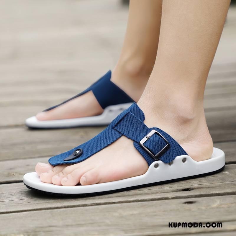 Japonki Męskie Plażowe Sandały Buty Osobowość Lato Męska Niebieski