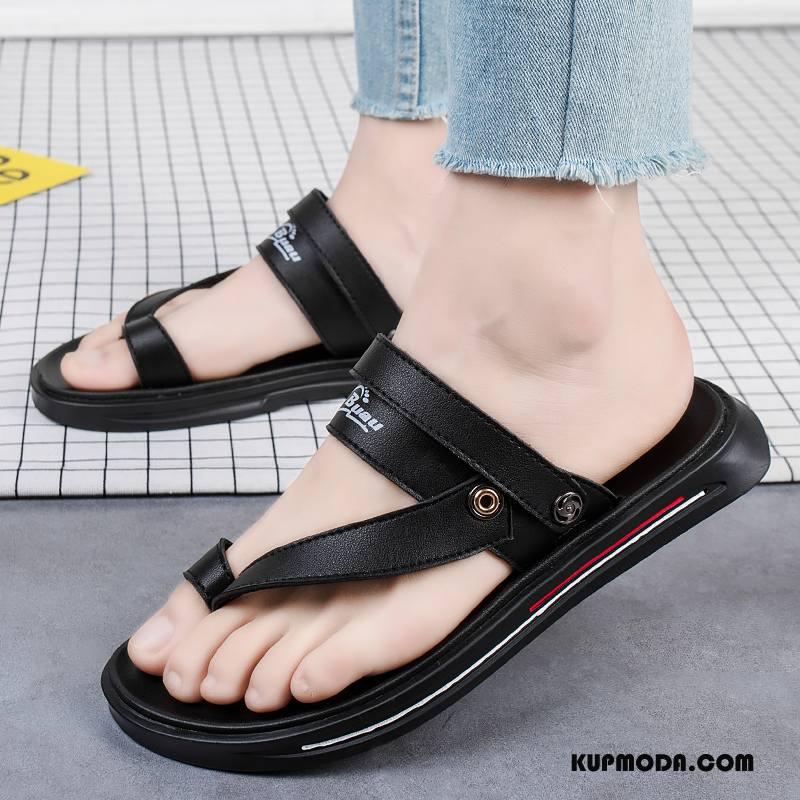 Japonki Męskie Tendencja Prawdziwa Skóra Lato Sandały Plażowe Skóra Bydlęca Czarny