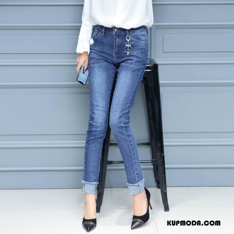 Jeansy Damskie Środkowa Stan Spodnie Eleganckie 2018 Ołówkowe Spodnie Slim Fit Niebieski