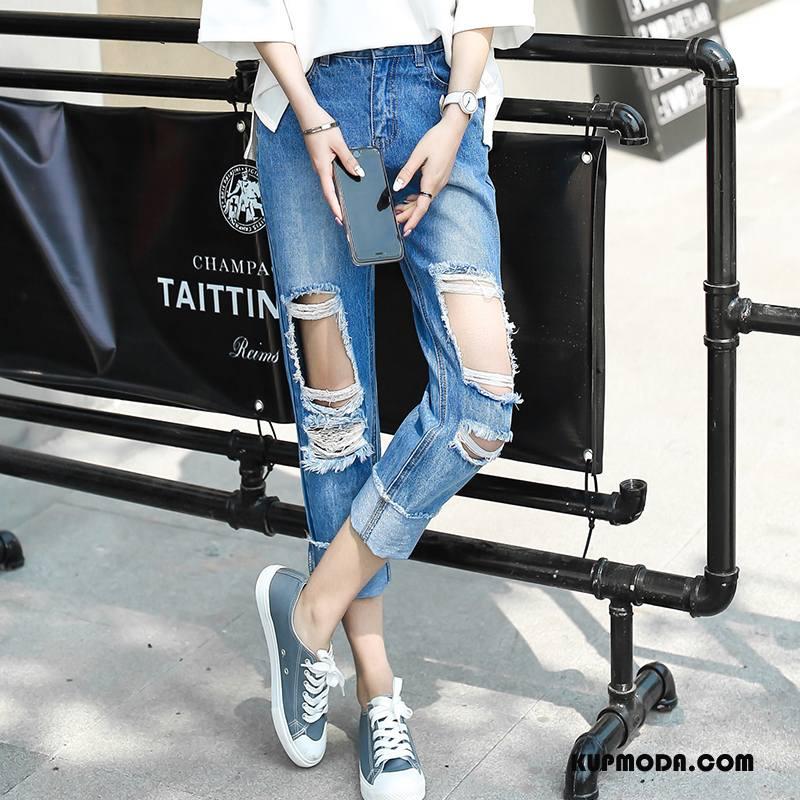 Jeansy Damskie Dżinsy Casual Ołówkowe Spodnie 2018 Z Dziurami Moda Niebieski