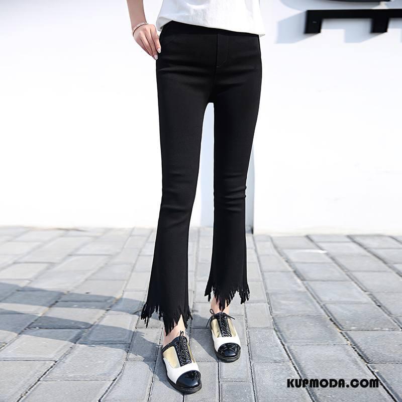 Jeansy Damskie Moda Eleganckie Swag Tendencja Dżinsy Lato Czysta Czarny