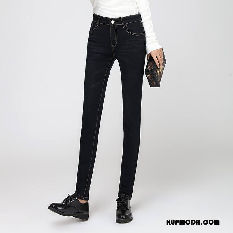 Jeansy Damskie Ołówkowe Spodnie Slim Fit Dla Grubych Cienkie 2018 Eleganckie Czysta Czarny