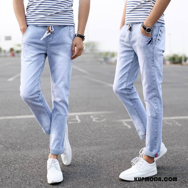 Jeansy Męskie Brytyjskie Spodnie Męska Mały Dżinsy Elastyczne Jasny Niebieski