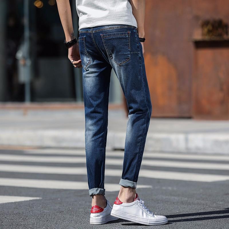 Jeansy Męskie Casual Tendencja Dżinsy Elastyczne Slim Fit Ołówkowe Spodnie Ciemno Niebieski