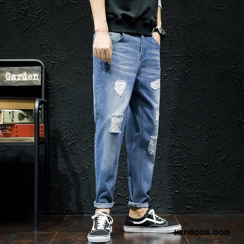 Jeansy Męskie Cienkie Tendencja Lato Długie Slim Fit Spodnie Jasny Niebieski