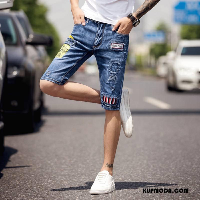 Jeansy Męskie Męska Slim Fit Elastyczne Długie Casual Spodnie Niebieski