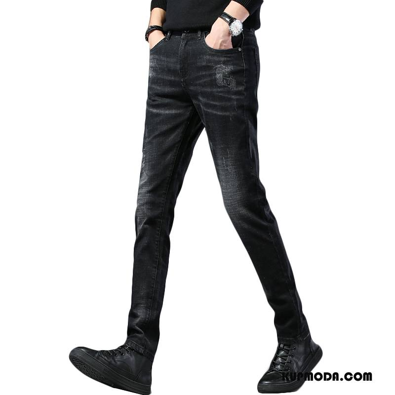 Jeansy Męskie Nowy Moda Tendencja Spodnie Denim Wygodne Czarny