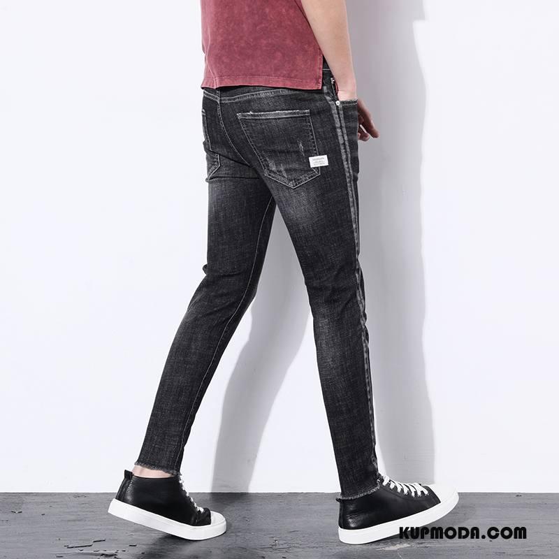 Jeansy Męskie Ołówkowe Spodnie Dżinsy Młodzież Slim Fit Tendencja Elastyczne Czarny