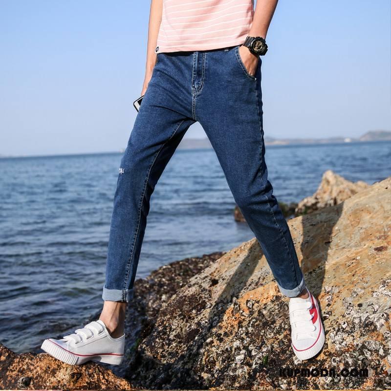 Jeansy Męskie Ołówkowe Spodnie Slim Fit Harlan Dżinsy Męska Elastyczne Niebieski