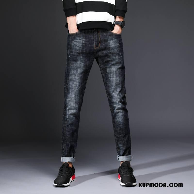 Jeansy Męskie Spodnie Moda Dżinsy Tendencja Elastyczne Młodzież Czarny