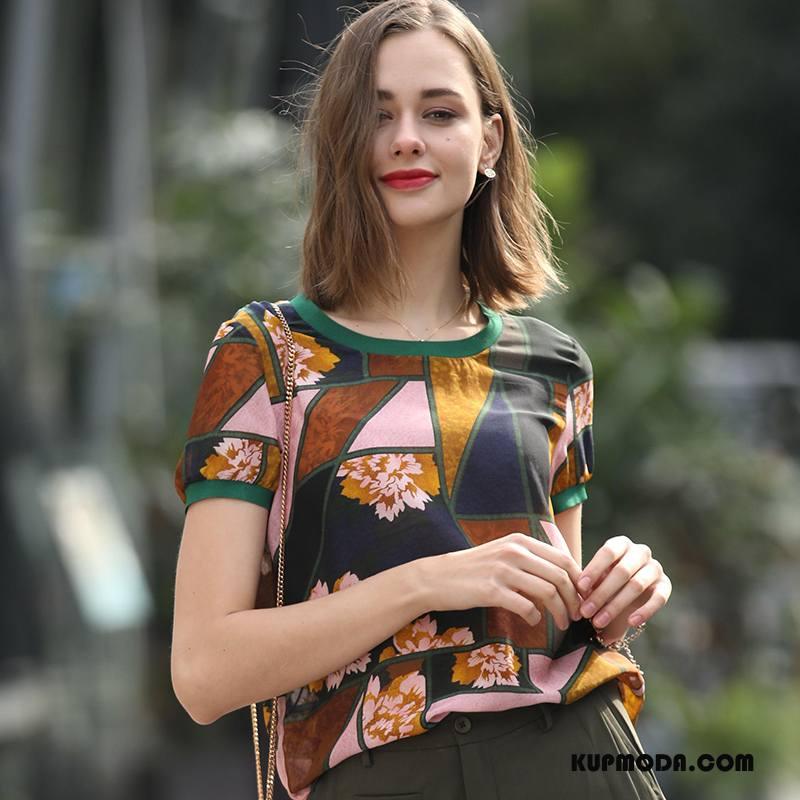 Jedwabna Sukienka Damskie Eleganckie Slim Fit Tendencja Swag Cienkie Wiosna Granatowy