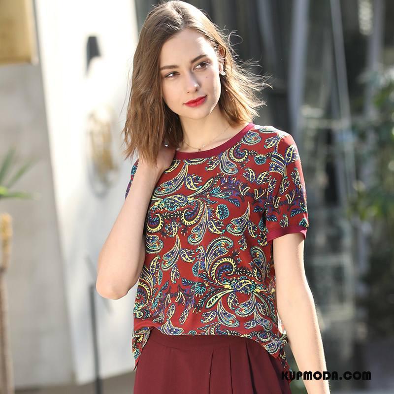 Jedwabna Sukienka Damskie Krótki Moda 2018 Krótki Rękaw Piękny Cienkie Burgund