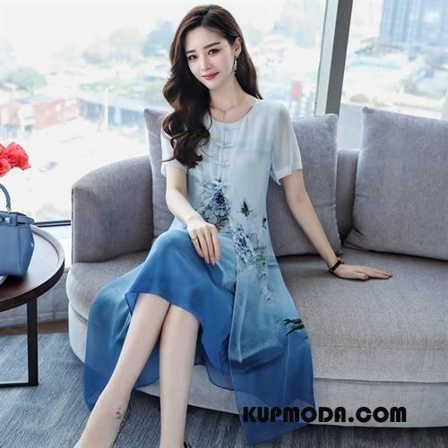 Jedwabna Sukienka Damskie Krótki Rękaw Długie Środkowa Stan Lato Pullover Drukowana Niebieski