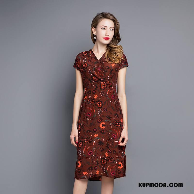 Jedwabna Sukienka Damskie Kwiaty Środkowa Stan Długie Drukowana Eleganckie Wygodne Burgund