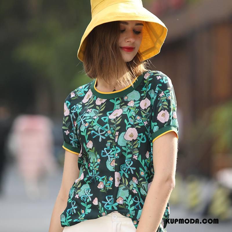 Jedwabna Sukienka Damskie Moda Eleganckie Kwiaty Roślina Wiosna 2018 Zielony