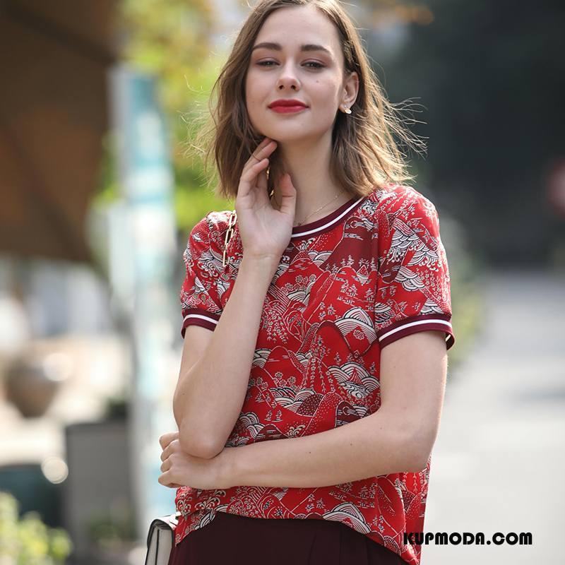 Jedwabna Sukienka Damskie Moda Eleganckie Slim Fit Cienkie Swag Proste Czerwony